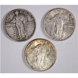 3 STANDING LIBERTY QUARTERS: