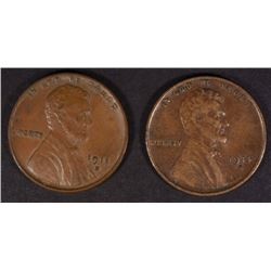1914-S XF & 1911-D XF LINCOLN CENTS