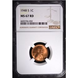 1948-S LINCOLN CENT, NGC MS-67 RED