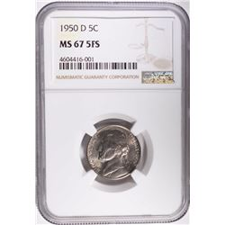 1950-D JEFFERSON NICKEL, NGC MS-67 FULL STEPS!!!