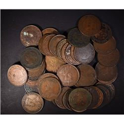 50-CANADA LARGE CENTS, VARIOUS DATES