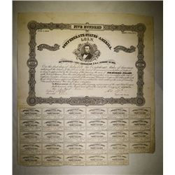 1861 CSA $500 BOND WITH 29 COUPONS, VF