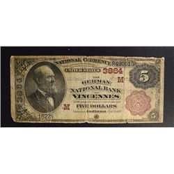 RARE 1882 $5.00 NATIONAL,  GERMAN NATIONAL BANK