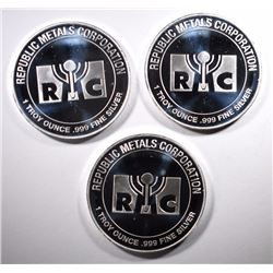 3-ONE OUNCE .999 SILVER ROUNDS RMC