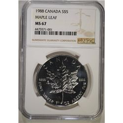 1988 CANADA $5 MAPLE LEAF NGC MS67