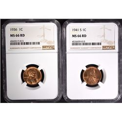 1936 & 1941-S LINCOLN CENTS NGC MS66 RD