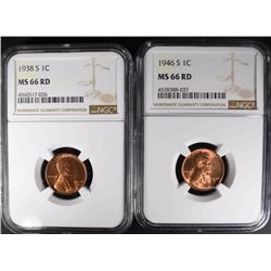 1938-S & 1946-S LINCOLN CENTS NGC MS66 RD