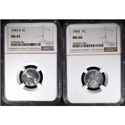 1943 NGC MS66 & 1943-S NGC MS65 LINCOLN CENTS