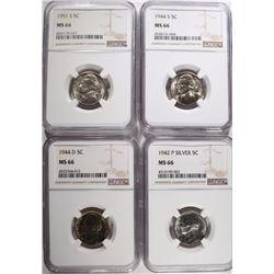 4-NGC GRADED JEFFERSON NICKELS, ALL MS-66