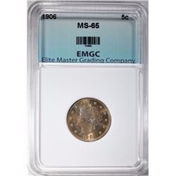 "1906 LIBERTY ""V"" NICKEL, EMGC GEM BU"