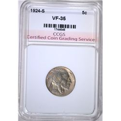 1924-S BUFFALO NICKEL, CCGS VF