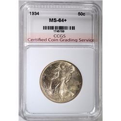 1934 WALKING LIBERTY HALF DOLLAR, CCGS CH+/GEM BU