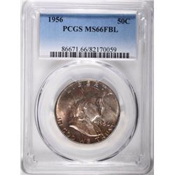 1956 FRANKLIN HALF DOLLAR, PCGS MS-66 FBL