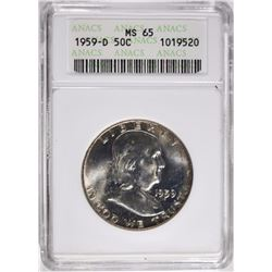 1959-D FRANKLIN HALF DOLLAR ANACS, MS-65 GEM