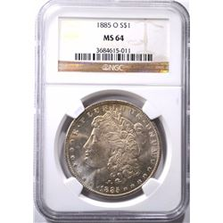 1885-O MORGAN DOLLAR, NGC MS-64 WHITE