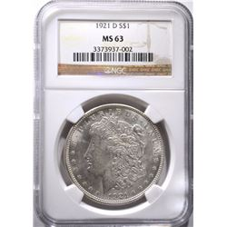 1921-D MORGAN DOLLAR, NGC MS-63 WHITE