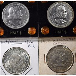 4 - COMMEM HALVES; 1892 & 1893 BU COLUMBIAN,