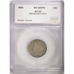 "1883 No Cents  LIBERTY ""V"" NICKEL SEGS AU"