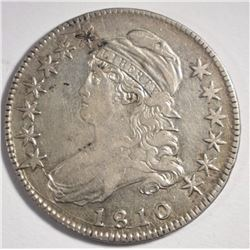 1810 CAPPED BUST HALF DOLLAR, AU -TOUGH EARLY DATE