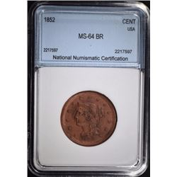 1852 LARGE CENT NNC CH BU BR