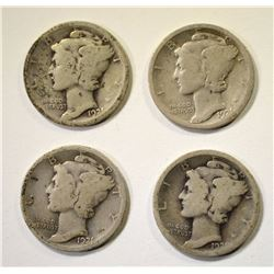 4 1921 MERCURY DIMES  GOOD
