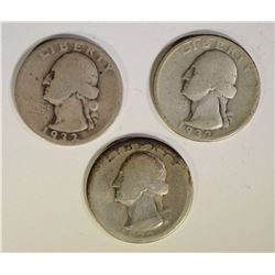 3 PCS 1932-D WASHINGTON QUARTER CIRCS