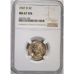 1947-D JEFFERSON NICKEL NGC MS-67 FS