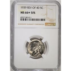 1939 REV OF 40 JEFFERSON NICKEL NGC MS66+ FS