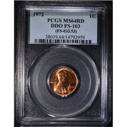 1972 LINCOLN CENT DDO FS-103 PCGS MS-64 RD