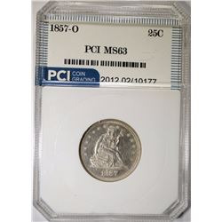 1857-O SEATED LIBERTY QUARTER PCI CH BU