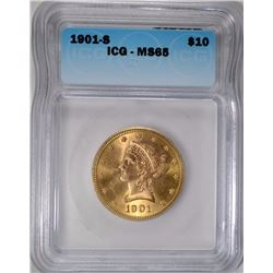 1901-S $10 GOLD LIBERTY ICG MS-65