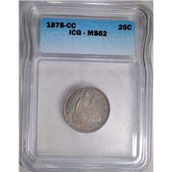1875-CC TWENTY CENT ICG MS-62