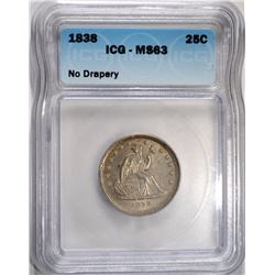 1838 SEATED LIBERTY QUARTER ICG MS-63