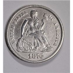 1876-CC SEATED LIBERTY DIME AU