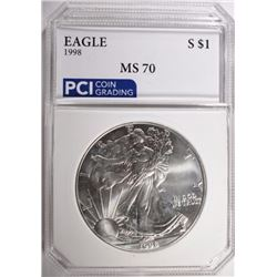 1998 AMERICAN SILVER EAGLE PCI PERFECT GEM BU