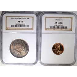 2 COIN LOT: 1952 WASH CARVER HALF $  NGC MS 64 &