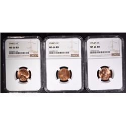 1946-S, 1948-S, 1954-S LINCOLN CENTS NGC MS66 RD