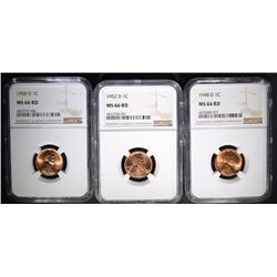 1948-D, 1952-D, 1958-D LINCOLN CENTS NGC MS66 RD
