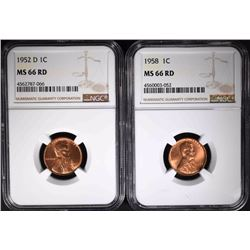 1952-D & 1958 LINCOLN CENTS NGC MS66 RD