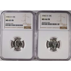 2- NGC MERCURY DIMES: DIFFERENT GRADE & DATES