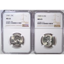 1949-P,D WASHINGTON QUARTERS NGC MS-65