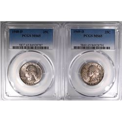 1948-D & 49-D WASHINGTON QUARTERS, PCGS MS-65