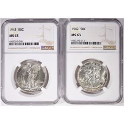 1942 & 1943 WALKING LIBERTY HALF DOLLARS NGC MS-63