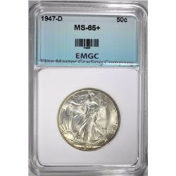 1947-D WALKING LIBERTY HALF DOLLAR, EMGC GEM BU+