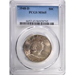 1948-D FRANKLIN HALF DOLLAR, PCGS MS-65
