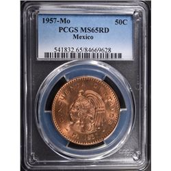 1957 Mo MEXICO 50 CENTAVOS, PCGS MS-66 RED RARE!