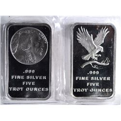 2-DIFFERENT FIVE OUNCE ,999 SILVER BARS