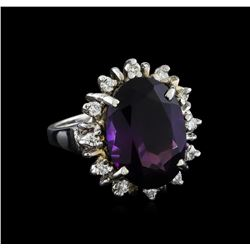 7.77 ctw Amethyst and Diamond Ring - 14KT White Gold