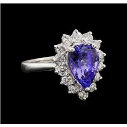 2.88 ctw Tanzanite and Diamond Ring - 14KT White Gold