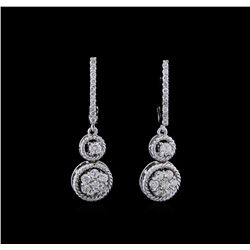 0.70 ctw Diamond Earrings - 14KT White Gold